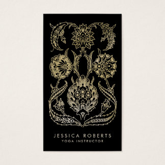 Bohemian Black Gold Look Modern Floral Business Card
