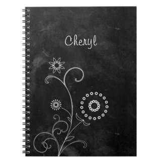 Bohemian Blackboard Cute White Flowers With Name Notebook