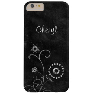 Bohemian Blackboard Pretty White Flowers With Name Barely There iPhone 6 Plus Case
