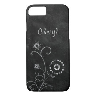 Bohemian Blackboard Pretty White Flowers With Name iPhone 7 Case