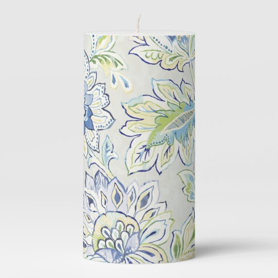 Bohemian Blue Flower Pillar Candle