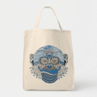 Bohemian Blue Monkey Grocery Tote Bag
