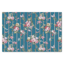 Bohemian blue pink red floral modern stripes tissue paper