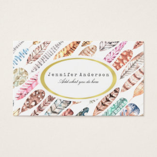 Bohemian Boho Colorful Watercolor Feathers Business Card
