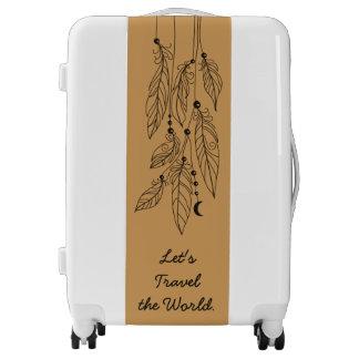 Bohemian Boho Feathers Drawing Light Brown Luggage