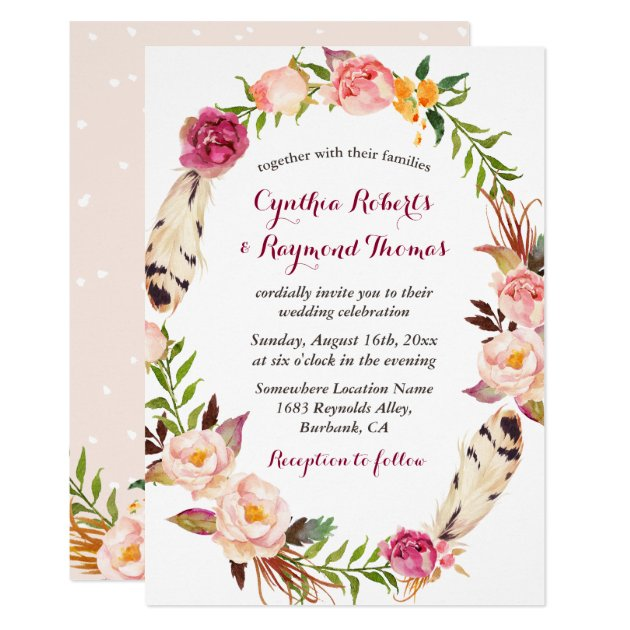 Bohemian Boho Floral Wreath Wedding Invitation