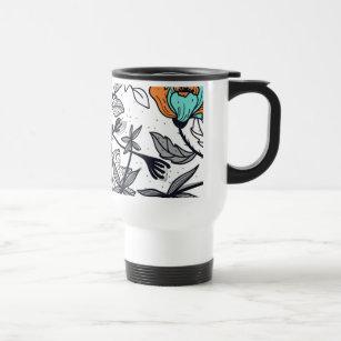 Bohemian Boho MOD Hippy Chic Flower Floral Travel Mug