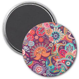 Bohemian Boho MOD Hippy Chic Flower Pattern 3 Inch Round Magnet