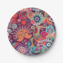 Bohemian Boho MOD Hippy Chic Flower Pattern Paper Plate