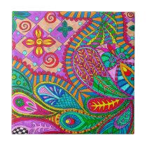 Bohemian Boho MOD Pattern Ceramic Tile
