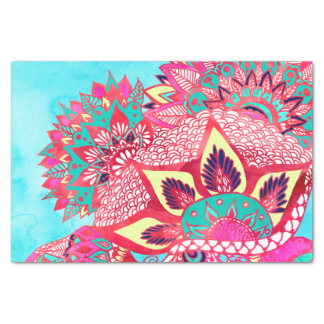 """Bohemian boho red blue floral paisley pattern 10"""" x 15"""" tissue paper"""