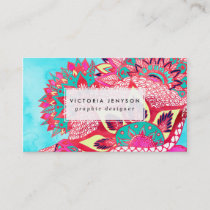Bohemian boho red blue floral paisley pattern business card