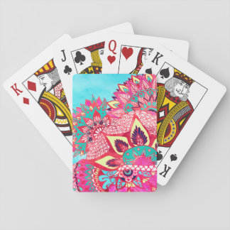 Bohemian boho red blue floral paisley pattern deck of cards