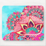"Bohemian boho red blue floral paisley pattern mouse pad<br><div class=""desc"">A trendy,  hip and modern hand drawn and watercolor painted bright and colorful boho bohemian pattern featuring,  mandala pattern,  abstract floral paisley pattern in vivid red,  blue,  turquoise,  pink and yellow colors.  A custom tribal design for a psychedelic hippie girl.</div>"