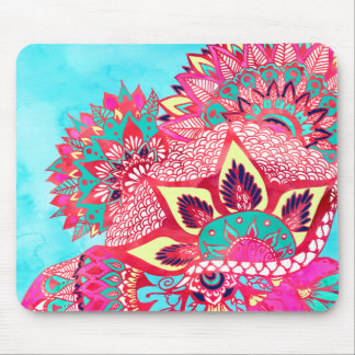 Bohemian boho red blue floral paisley pattern mouse pad