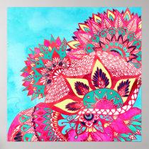 Bohemian boho red blue floral paisley pattern poster