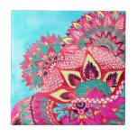 """Bohemian boho red blue floral paisley pattern tile<br><div class=""""desc"""">A trendy,  hip and modern hand drawn and watercolor painted bright and colorful boho bohemian pattern featuring,  mandala pattern,  abstract floral paisley pattern in vivid red,  blue,  turquoise,  pink and yellow colors.  A custom tribal design for a psychedelic hippie girl.</div>"""