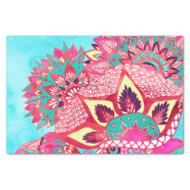 Bohemian boho red blue floral paisley pattern tissue paper