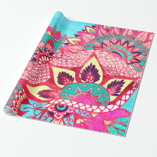 Bohemian boho red blue floral paisley pattern wrapping paper