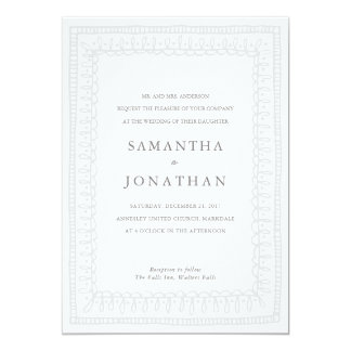 Bohemian Border Wedding Invitation // Grey