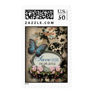 Bohemian Botanical butterfly Paris bridal shower Postage