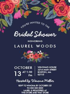 27517c1a22f4 Bohemian Bouquet - Navy Blue Bridal Shower Invitation