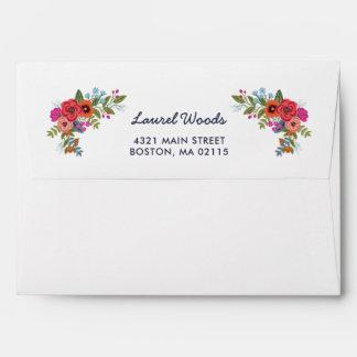Bohemian Bouquet - Navy Blue & Coral Floral Lining Envelope