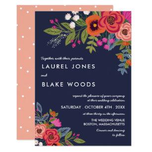 Bohemian Bouquet Navy Blue C Wedding Card