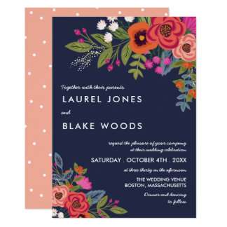 Bohemian Bouquet - Navy Blue & Coral Wedding Invitation