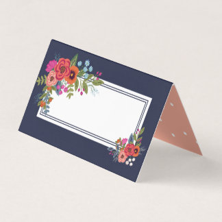Bohemian Bouquet - Navy Blue - Names Wedding Date Place Card