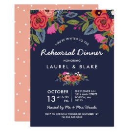 Bohemian Bouquet - Navy Blue Rehearsal Dinner Card