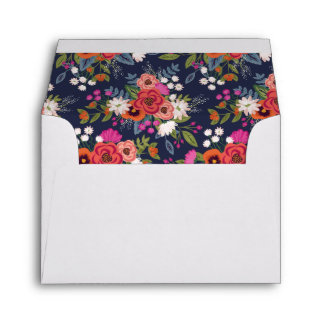 Bohemian Bouquet - White with Floral Liner RSVP Envelope