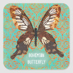 Bohemian Butterfly Damask Sticker