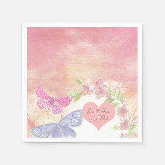 Bohemian Butterfly Watercolor wedding personalized Napkin