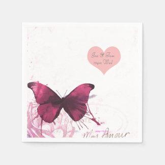 Bohemian Butterfly Watercolor wedding personalized Paper Napkin