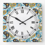 Bohemian Chic Country Kitchen Paisley Square Wall Clock