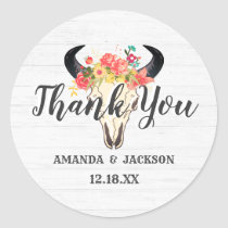 Bohemian Chic Cow Skull Floral Wedding Thank You Classic Round Sticker