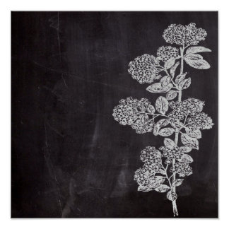 Bohemian Chic french country chalkboard botanical Poster