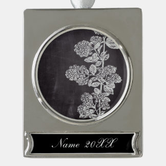 Bohemian Chic french country chalkboard botanical Silver Plated Banner Ornament