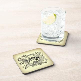 bohemian chic old fashion flourish swirls ornate drink coaster