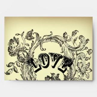 bohemian chic old fashion flourish swirls ornate envelope