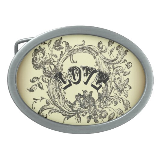 bohemian chic old fashion flourish swirls ornate oval belt buckle