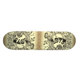 bohemian chic old fashion flourish swirls ornate skateboard