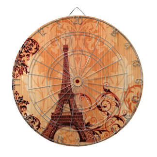 Bohemian Chic orange damask Paris Eiffel Tower Dartboard With Darts