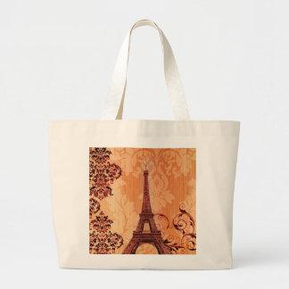 Bohemian Chic orange damask Paris Eiffel Tower Large Tote Bag