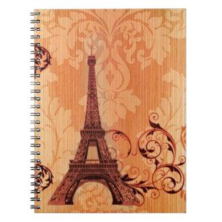 Bohemian Chic orange damask Paris Eiffel Tower Notebook