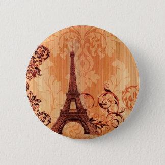 Bohemian Chic orange damask Paris Eiffel Tower Pinback Button