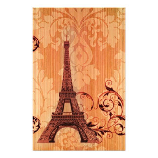 Bohemian Chic orange damask Paris Eiffel Tower Stationery