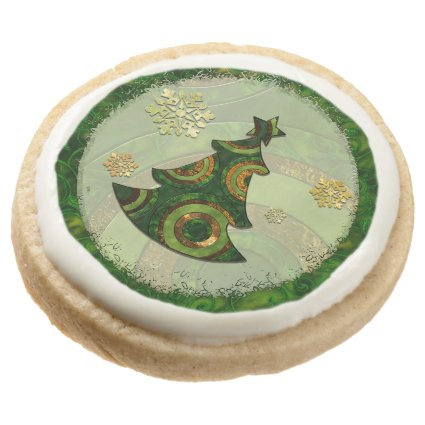 Bohemian Christmas Tree PARTY EVENTS HOLIDAY Round Premium Shortbread Cookie