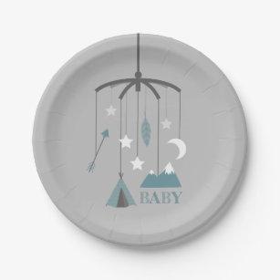 Bohemian Crib Mobile Modern Baby Shower Blue Paper Plate & Bohemian Plates   Zazzle